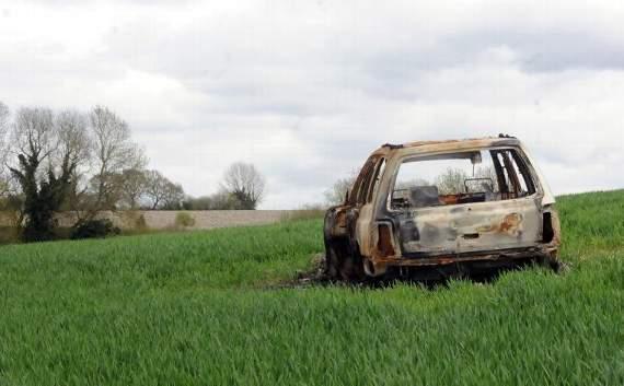 Rural crime burned car