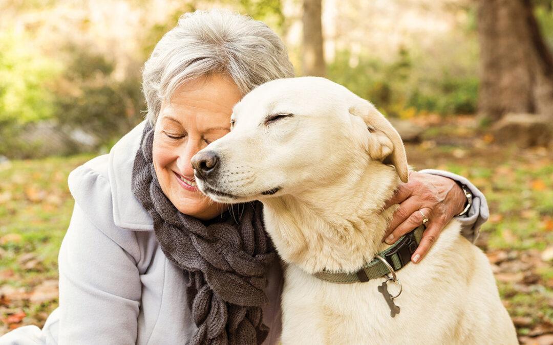 Pets Aging Population Older lady dog